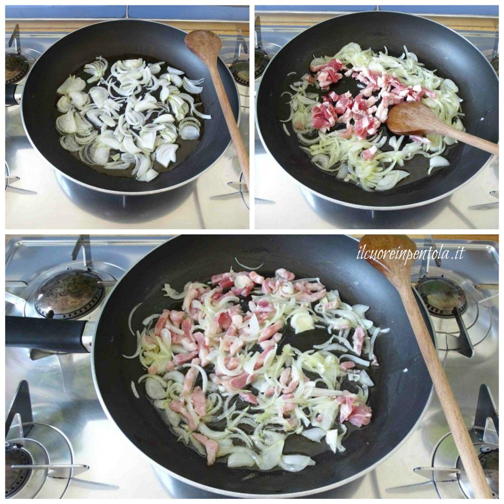 soffriggere cipolla e pancetta