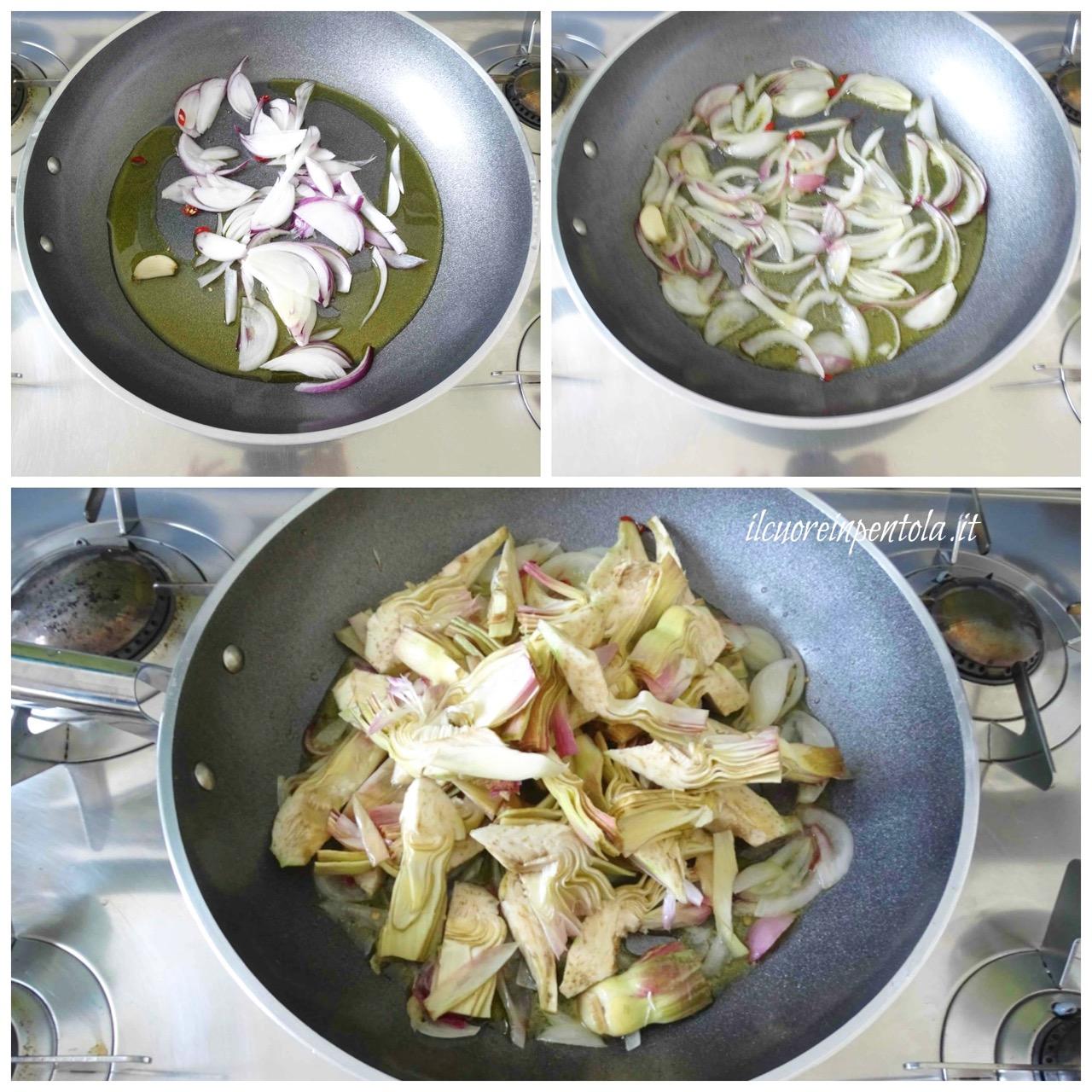 soffriggere cipolla e aggiungere carciofi