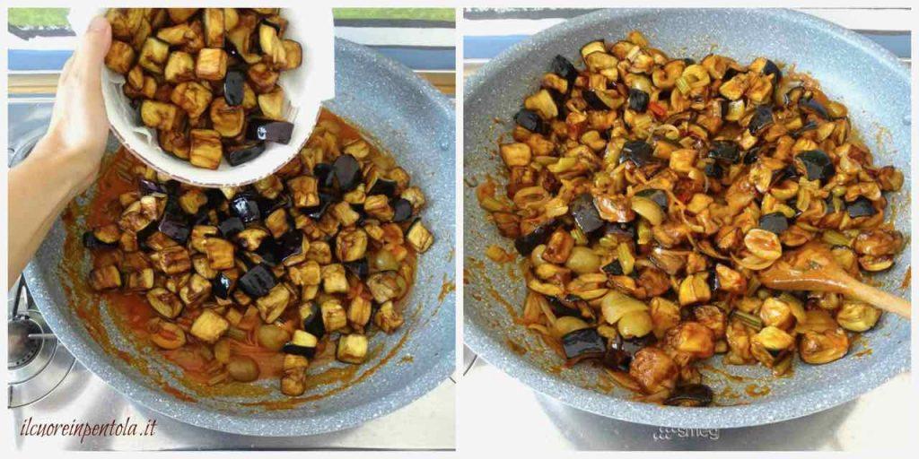 aggiungere melanzane fritte