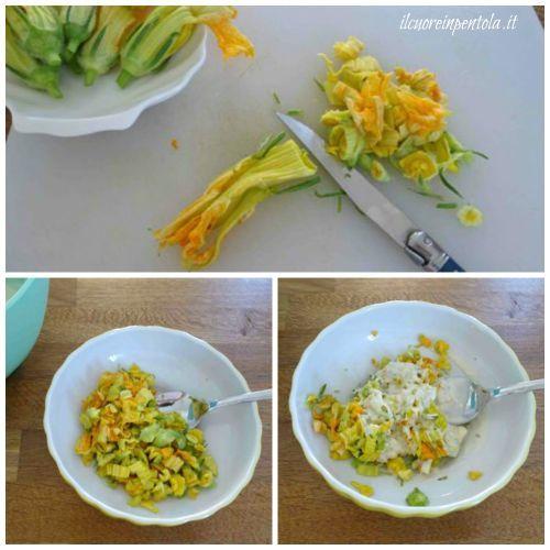 tagliare fiori di zucca e aggiungere uova
