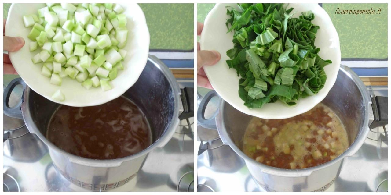 aggiungere zucchina e tenerumi