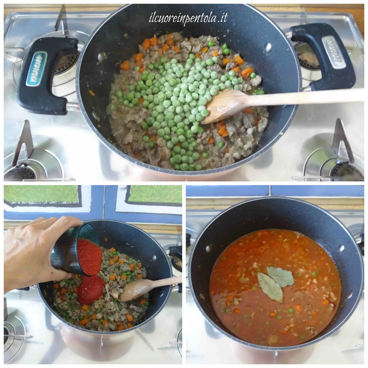 aggiungere piselli e pomodoro