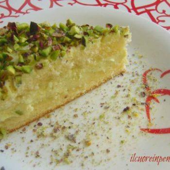 torta con crema di ricotta e pistacchi di bronte