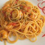 Spaghetti con gamberi e finocchietti