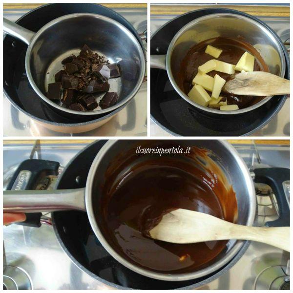 sciogliere cioccolato e aggiungere burro