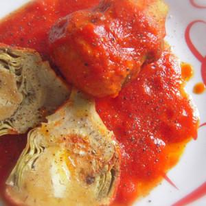 carciofi col tappo d'uovo alla siciliana