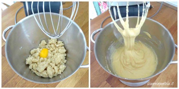 incorporare uova all'impasto