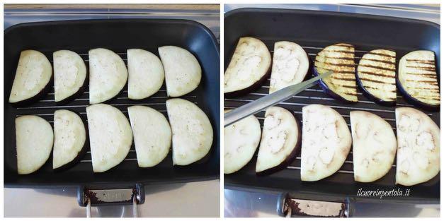grigliare melanzane sulla piastra