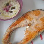 trancio di salmone con yogurt