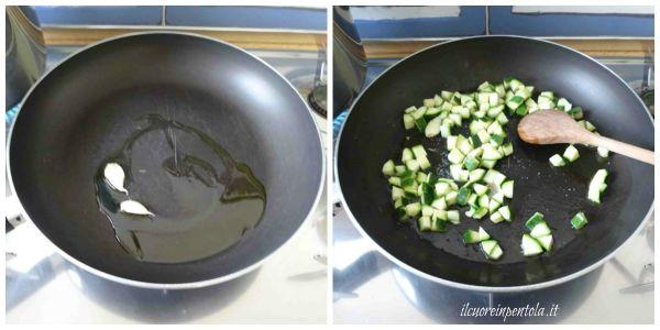soffriggere aglio e aggiungere zucchine