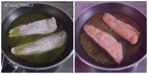infarinare e friggere filetti di merluzzo