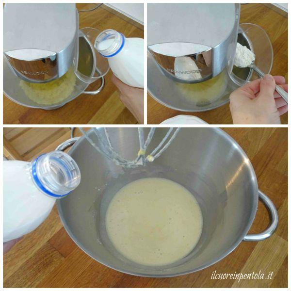 aggiungere farina e latte