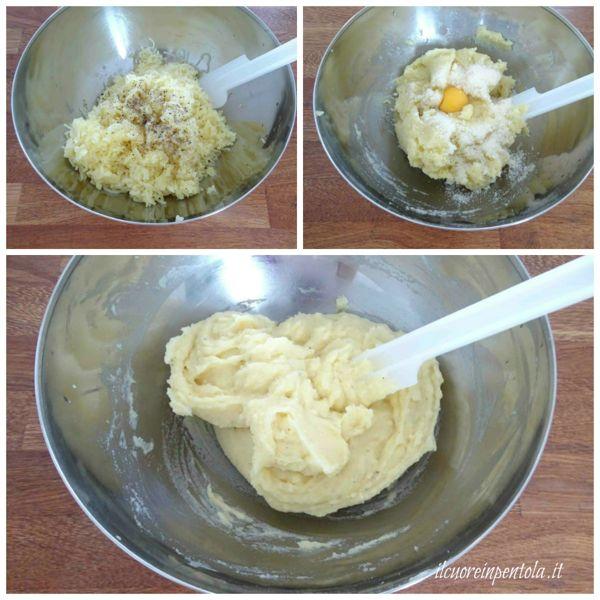 schiacciare e condire patate