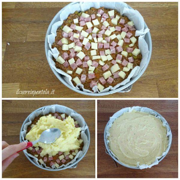 aggiungere prosciutto e formaggio