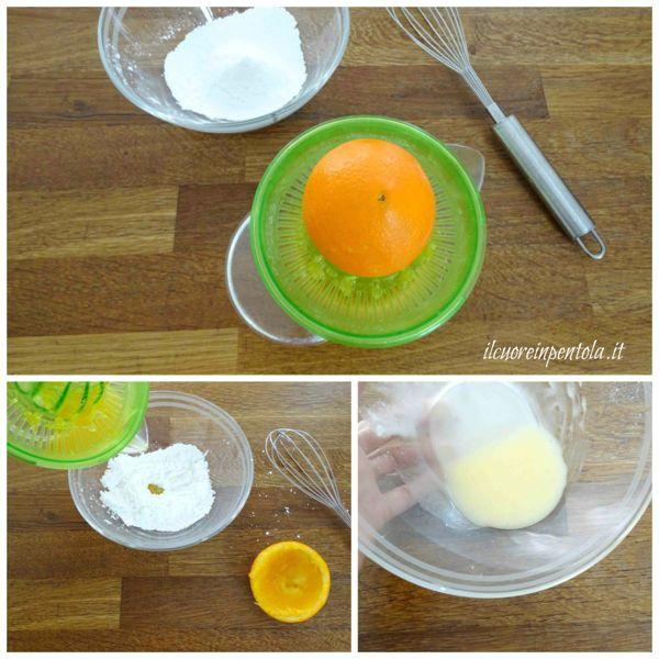 mescolare zucchero a velo e succo d'arancia