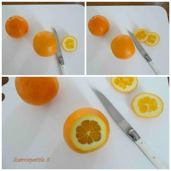 tagliare le estremità dell'arancia