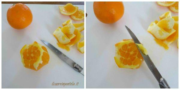 girare arancia e tagliare la buccia restante