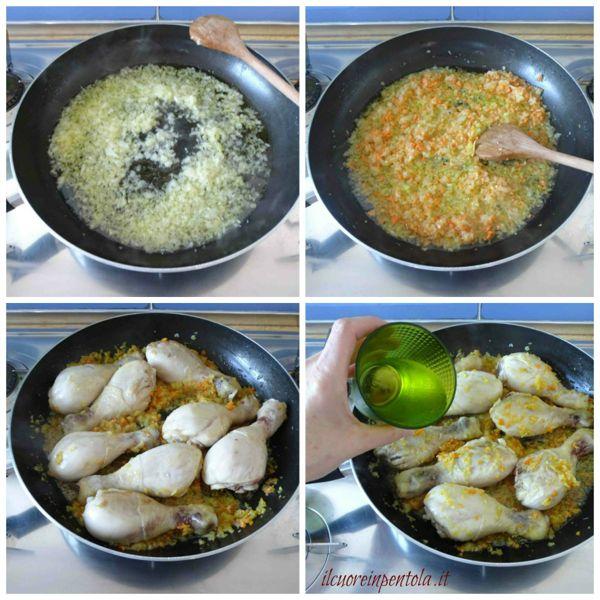 preparare soffritto e aggiungere pollo