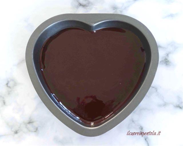 versare cioccolato nello stampo
