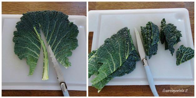 tagliare foglie di verza