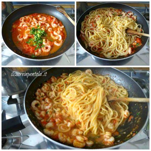mantecare pasta con sugo di gamberoni