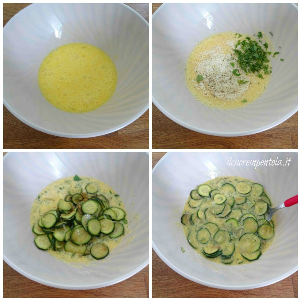 rompere uova e aggiungere zucchine