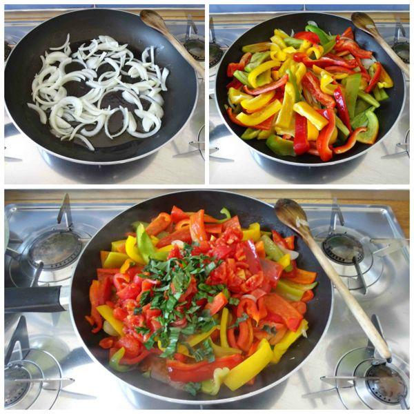soffriggere cipolla e aggiungete peperoni