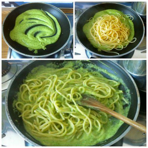 mantecare pasta con crema di zucchine