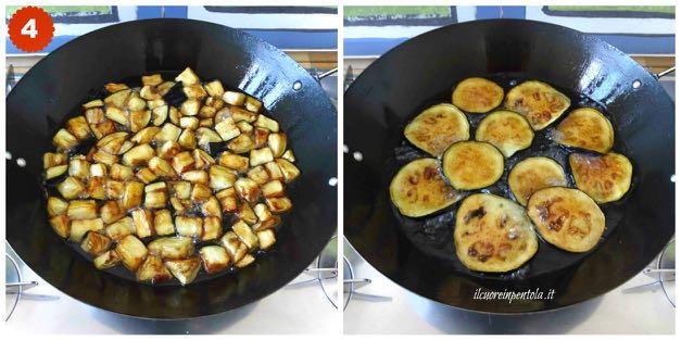 Melanzane durante la cottura nel tegame durante la frittura