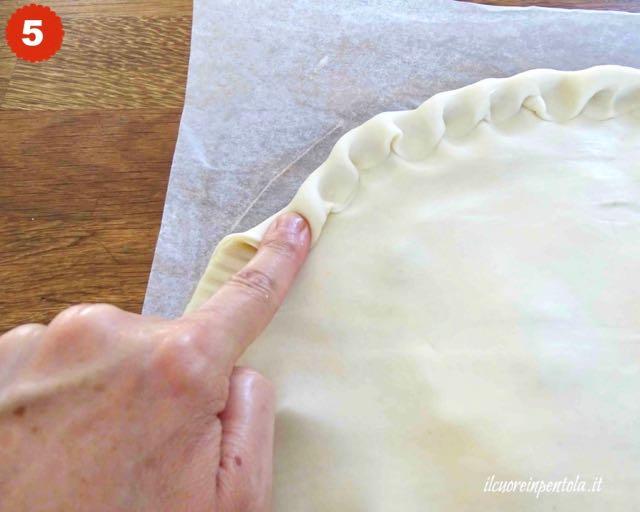 chiudere bordi torta salata