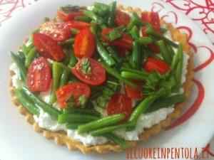 Torta salata ricotta fagiolini e pomodorini