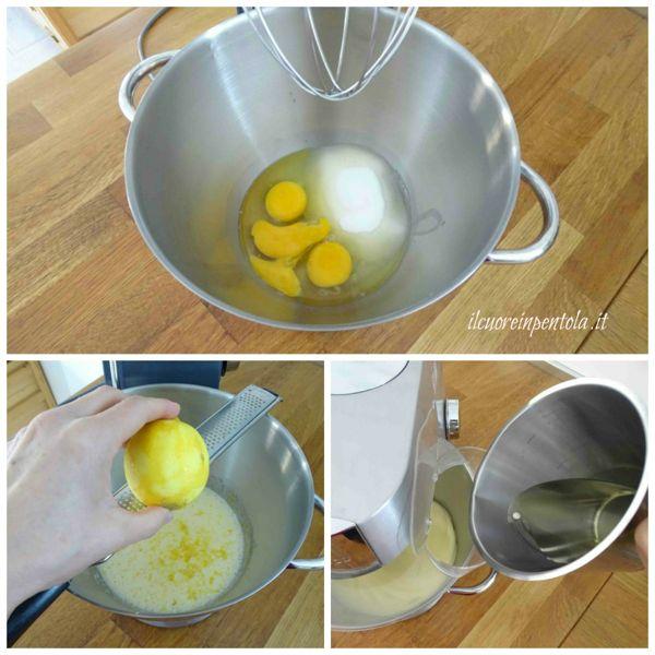 montare uova e zucchero e aggiungere olio
