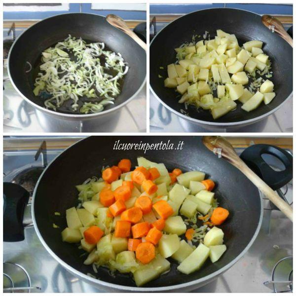 soffriggere porro e aggiungere patate e carote