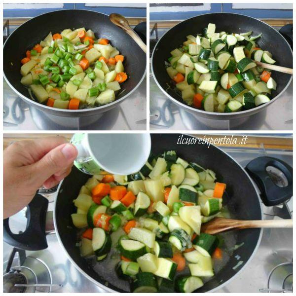 aggiungere sedano e zucchine