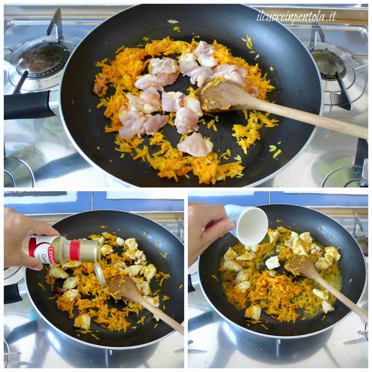 aggiungere pollo e curry
