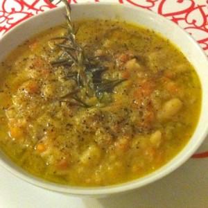 zuppa di fagioli e funghi porcini