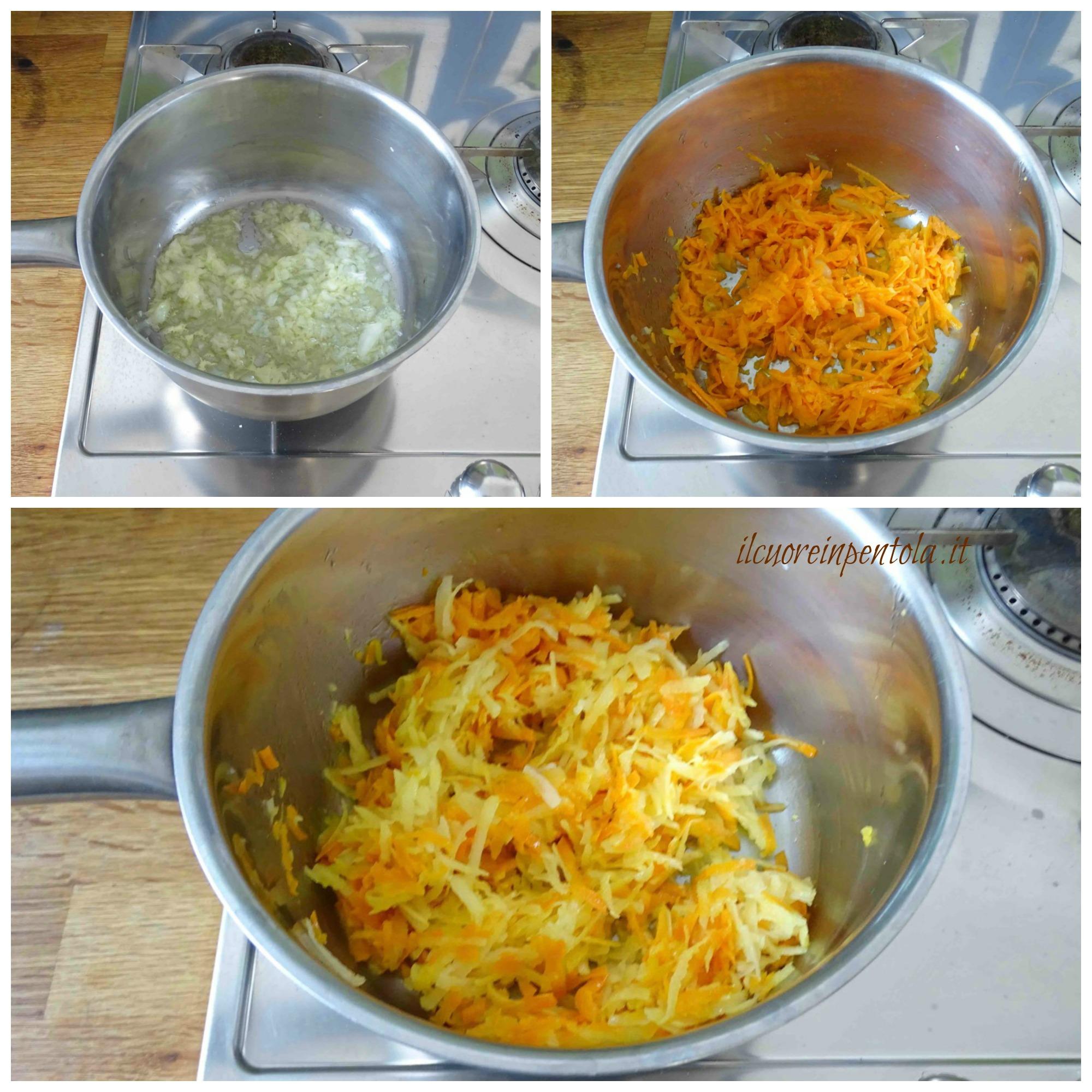 preparare soffritto e grattugiare verdure