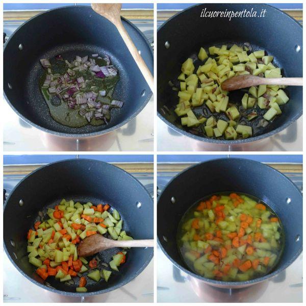 preparare soffritto e aggiungere patate e carote