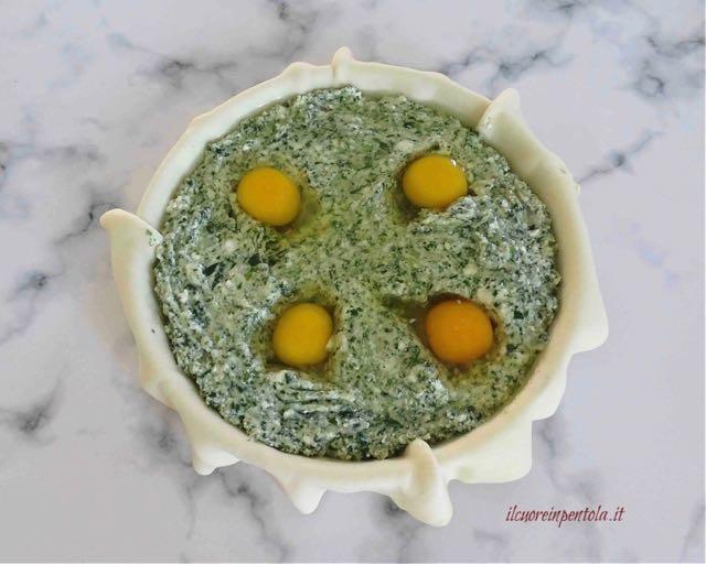 aggiungere ripieno e uova
