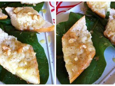 Crostini di pane, formaggio di fossa e miele