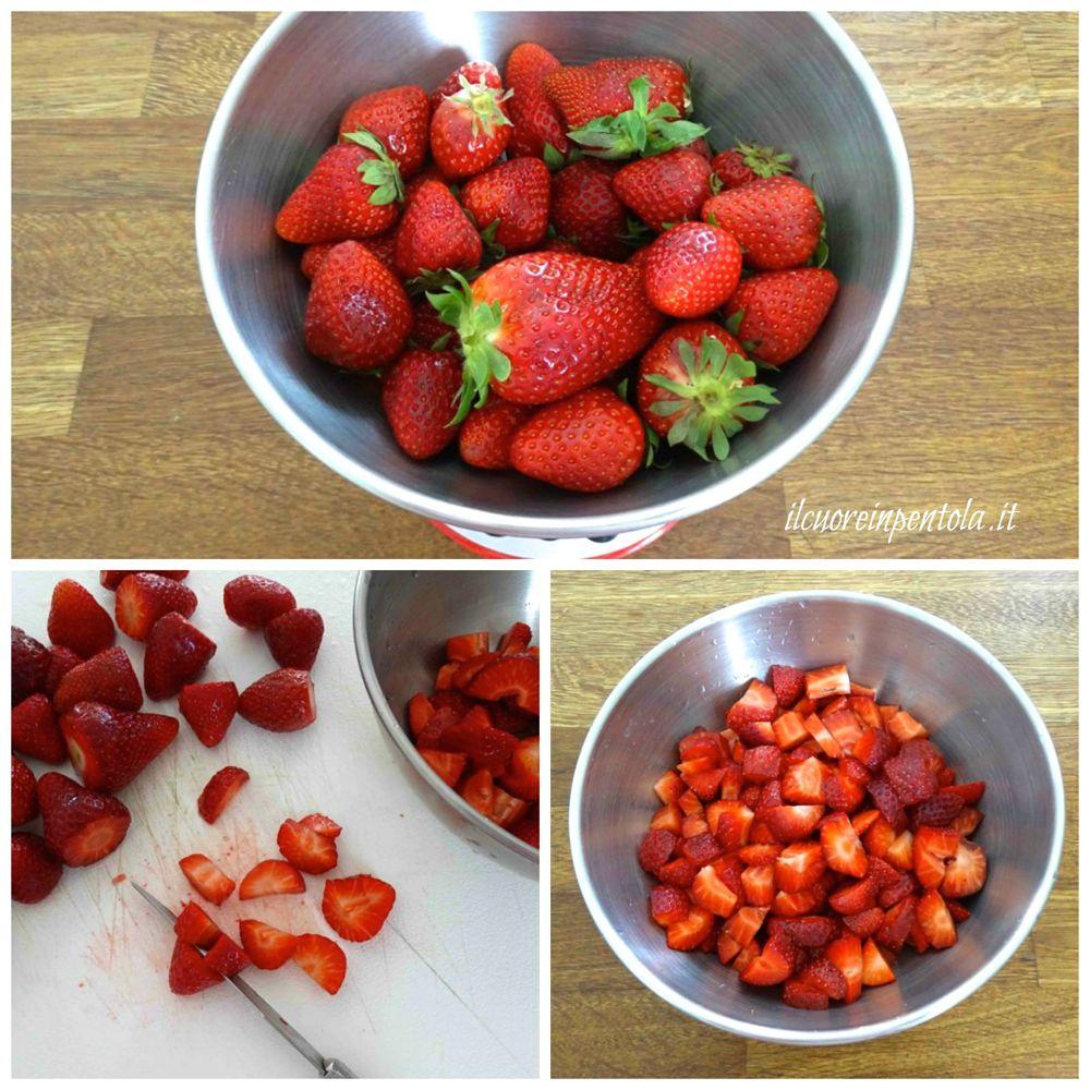 pulire e tagliare fragole
