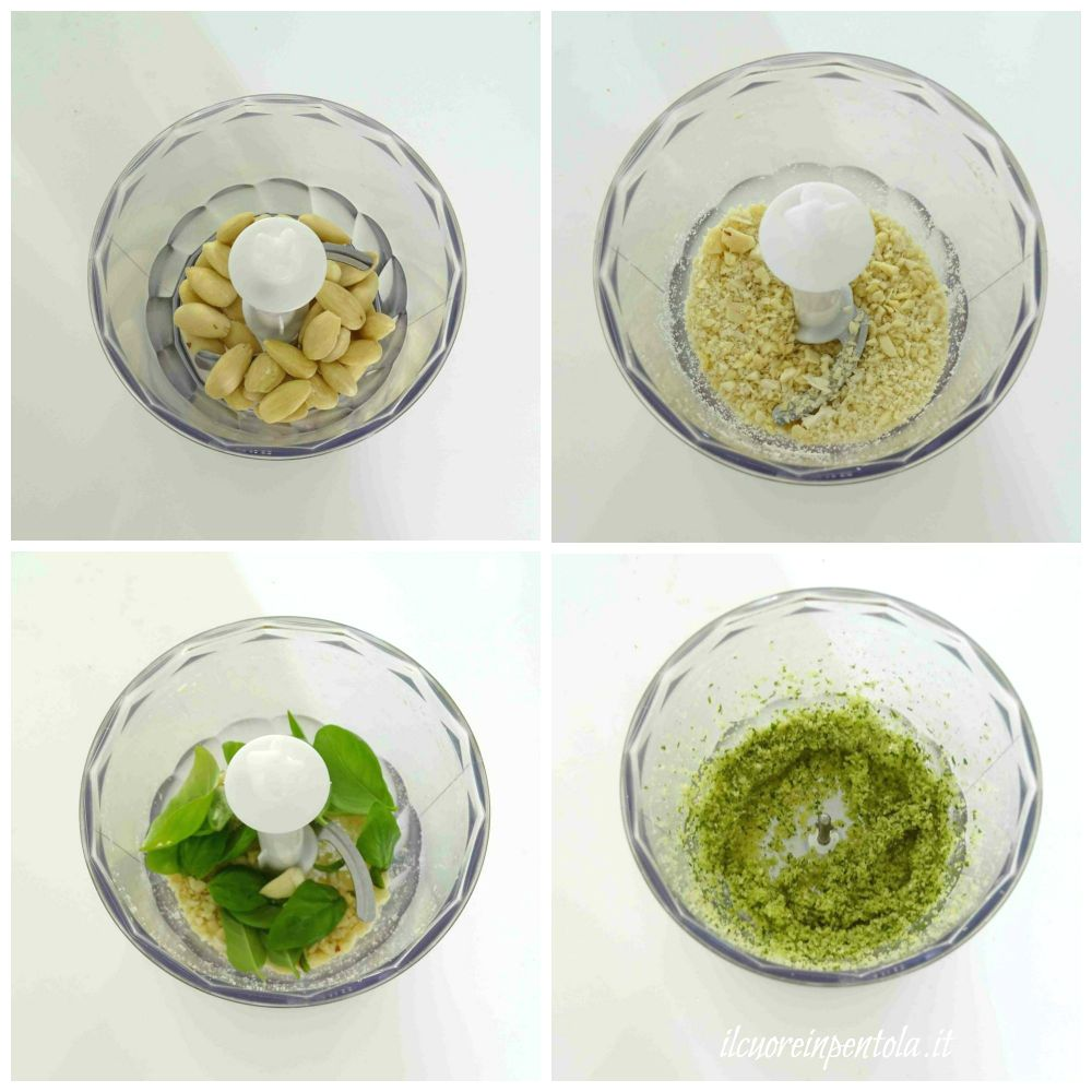 frullare mandorle basilico e aglio