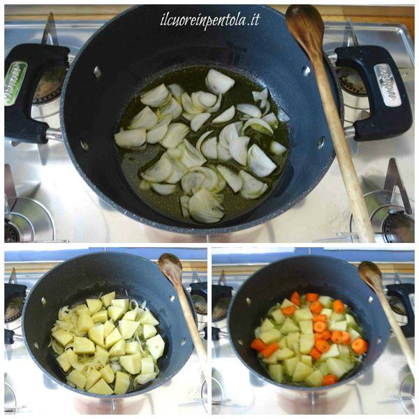 tagliare cipolla patate e carote