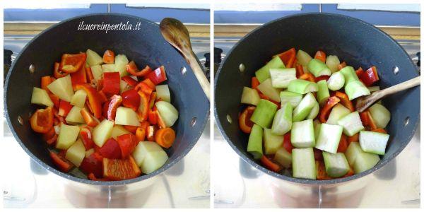 aggiungere peperoni e zucchine