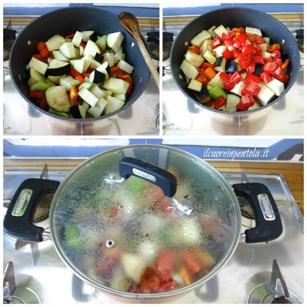 aggiungere melanzana pomodori e basilico