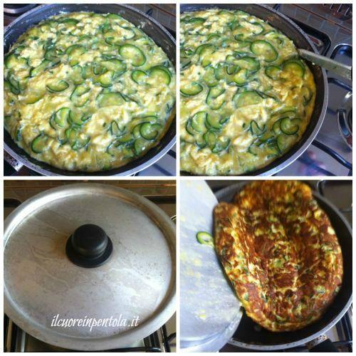 girare frittata di zucchine