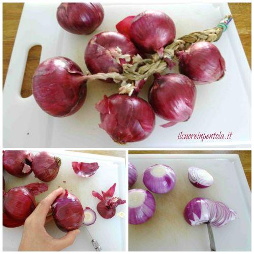 pulire e affettare cipolle rosse