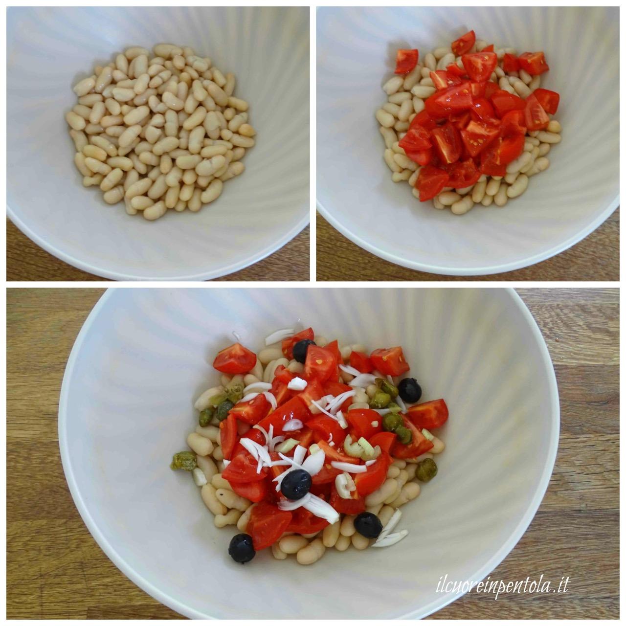 mescolare fagioli e pomodori