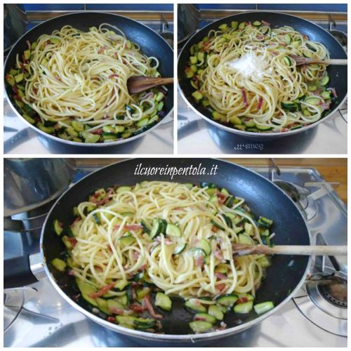 spadellare pasta con zucchine e speck