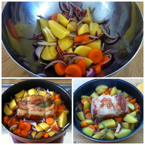 aggiungere patate carote e cipolle